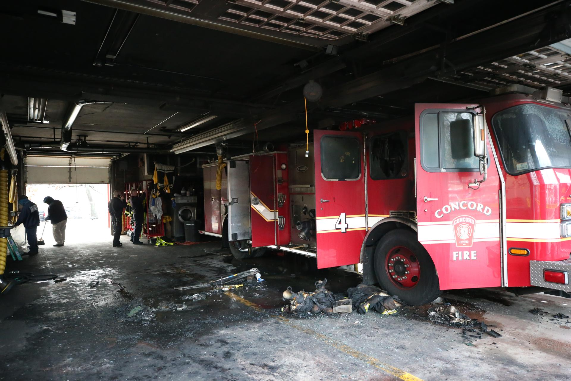 Flames at a Concord fire station destroyed one of the engines Wednesday.